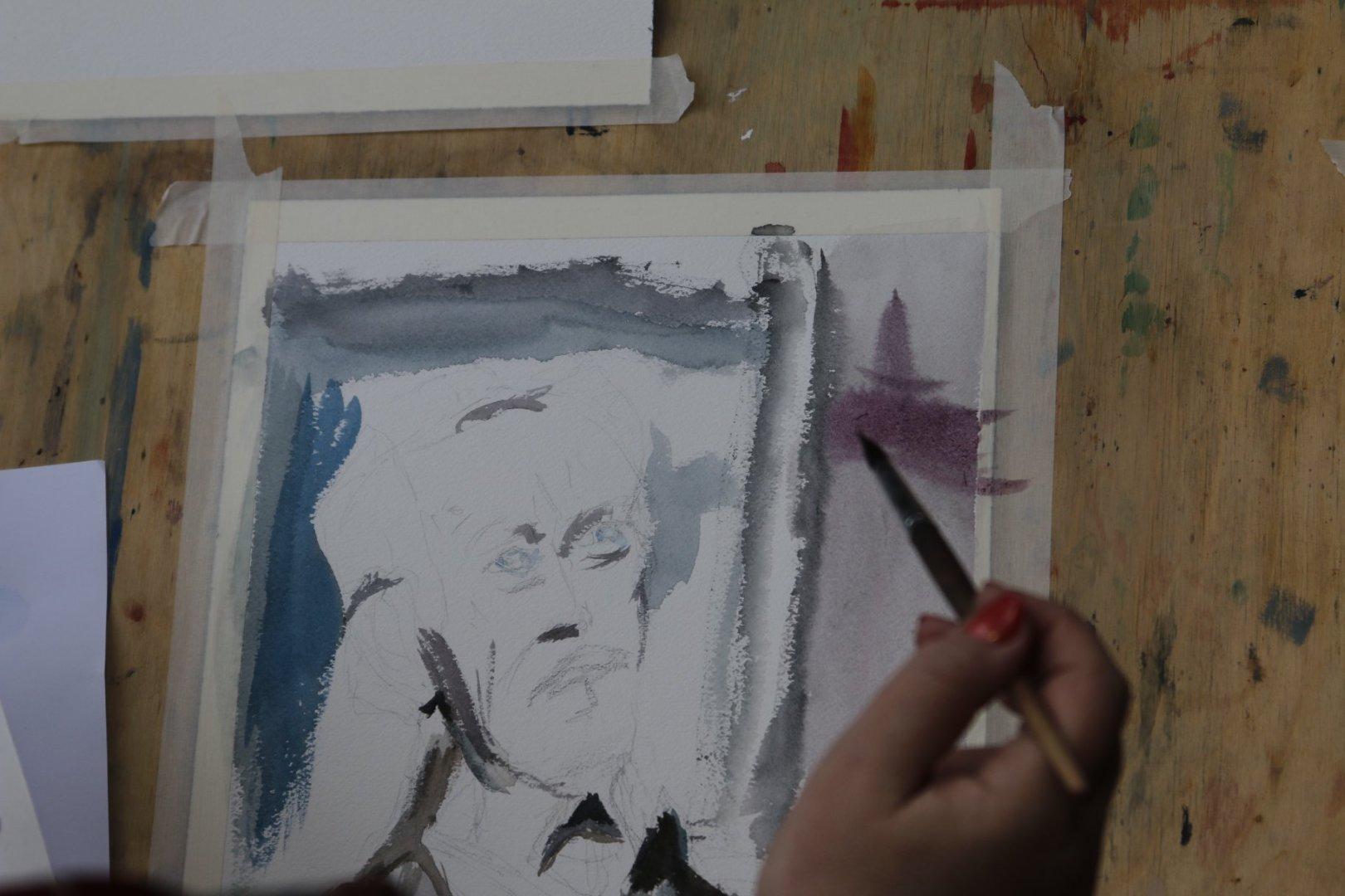 Akvarellportree